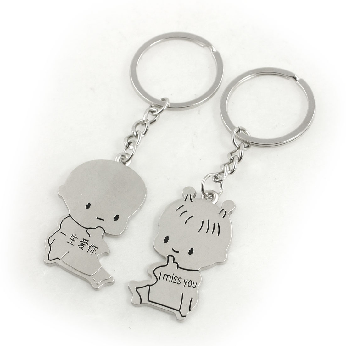 Lovers Couple Letter Printed Cartoon Girl Body Pendant Key Ring Keychain
