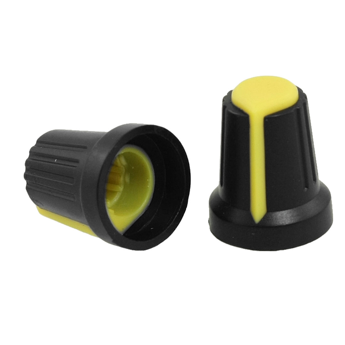 10 Pcs 6mm Shaft Insert Dia Yellow Mark Black Potentiometer Knobs Caps