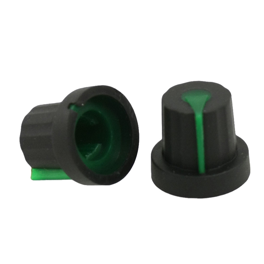 5 Pcs 11mm Top Dia Black Knobs w Green Mark for Potentiometer Pot