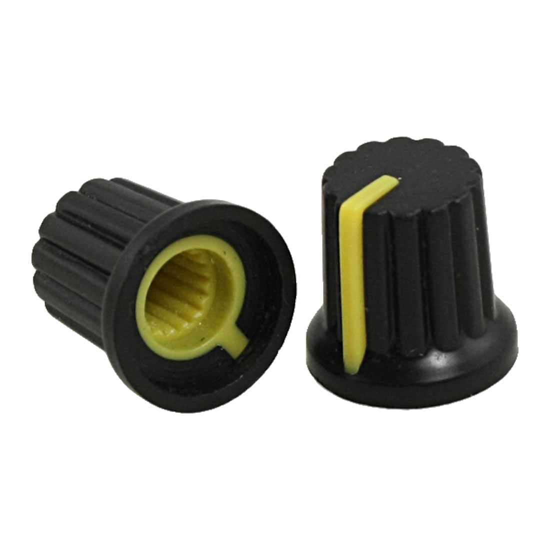 5 x Black Plastic Control Knobs w Yellow Mark for Potentiometer Pot