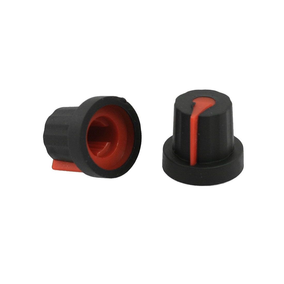5 Pcs Rubber Coated Plastic Knurled Grip Potentiometer Knobs Black Red