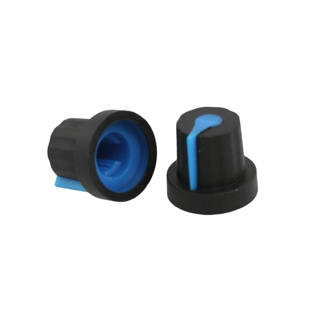 5 Pcs 6mm Split Shaft Insert Dia Blue Mark Black Potentiometer Knobs Caps