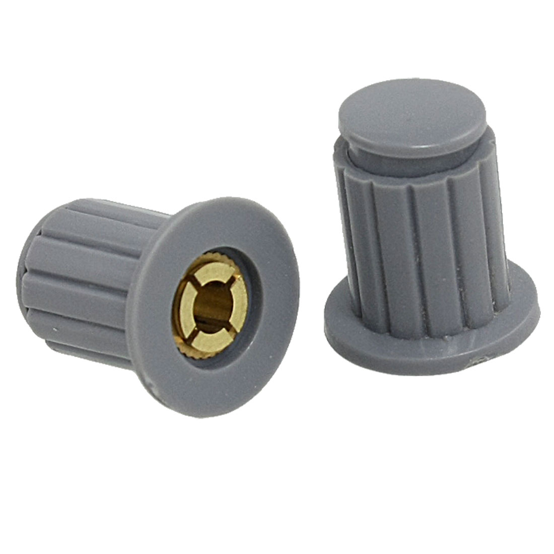 10 Pcs Gray Ribbed Grip 4mm Split Shaft Potentiometer Control Knobs