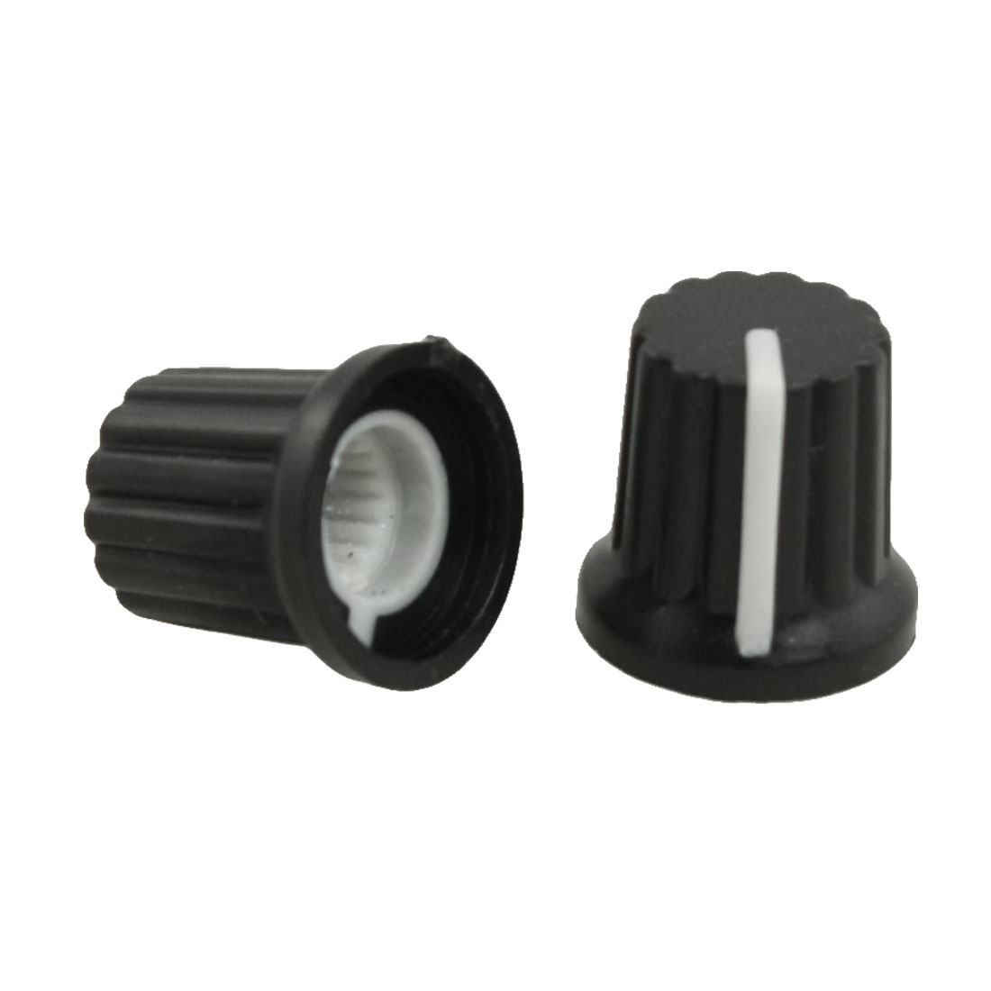 10 Pcs 6mm Shaft Hole Dia White Mark Black Potentiometer Pot Knobs Caps