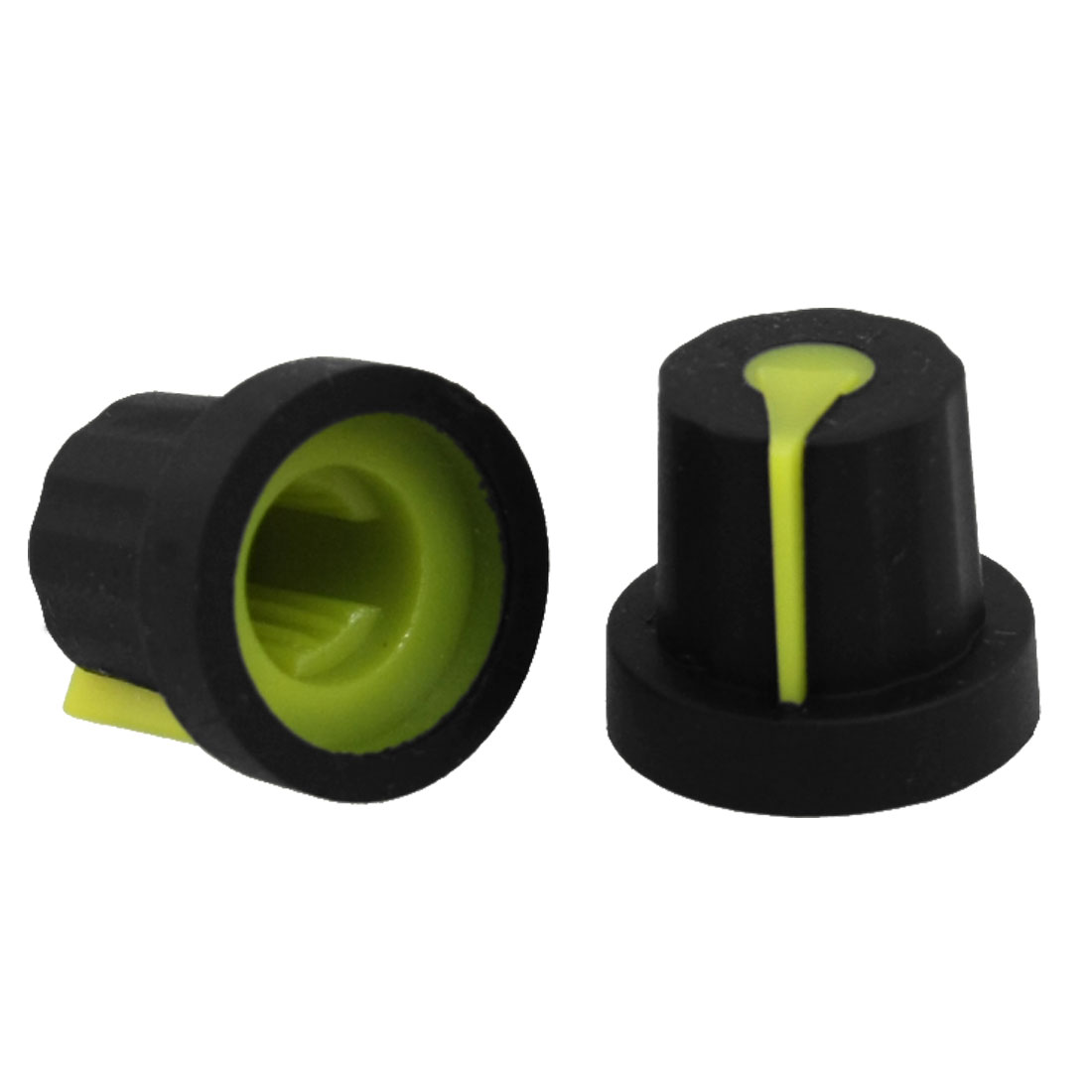 10 Pcs Rubber Coated Plastic Knurled Grip Potentiometer Knobs Black Yellow