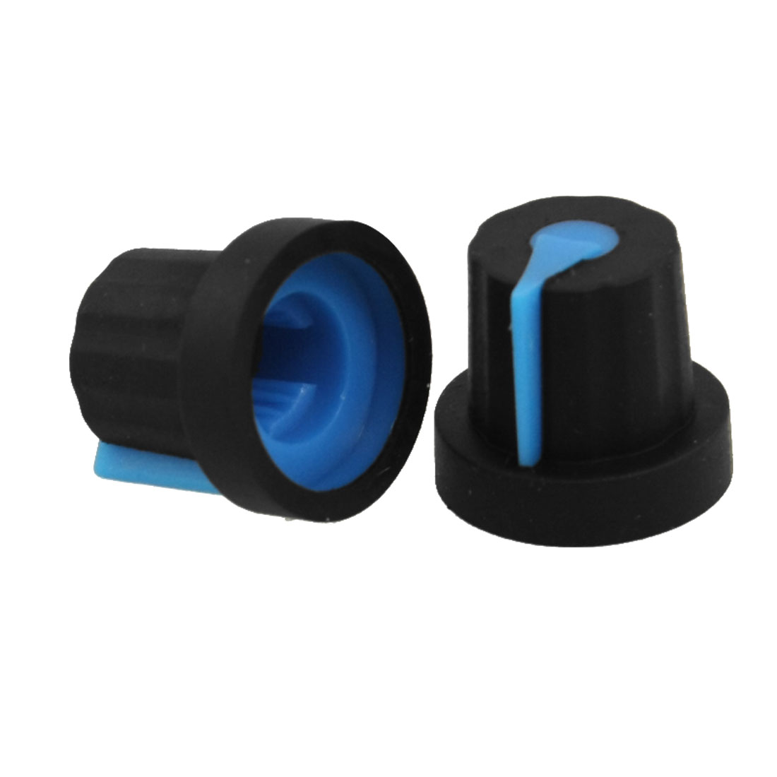 10 Pcs 6mm Split Shaft Insert Dia Blue Mark Black Potentiometer Knobs Caps