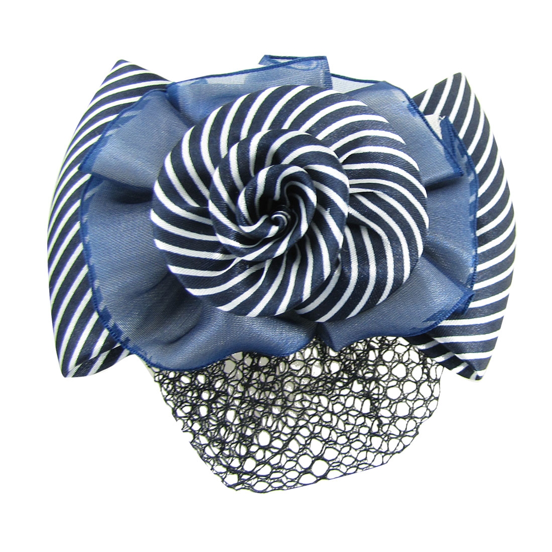 Woman Polyester Striped Bowknot Flower Detail Hairclip w Snood Net