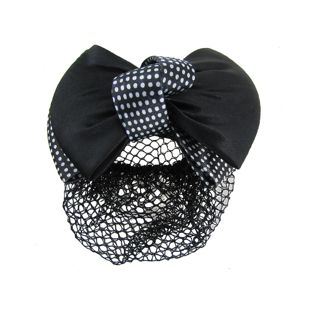 White Dot Pattern Black Bowknot Decor Hairclip Hairnet for Woman