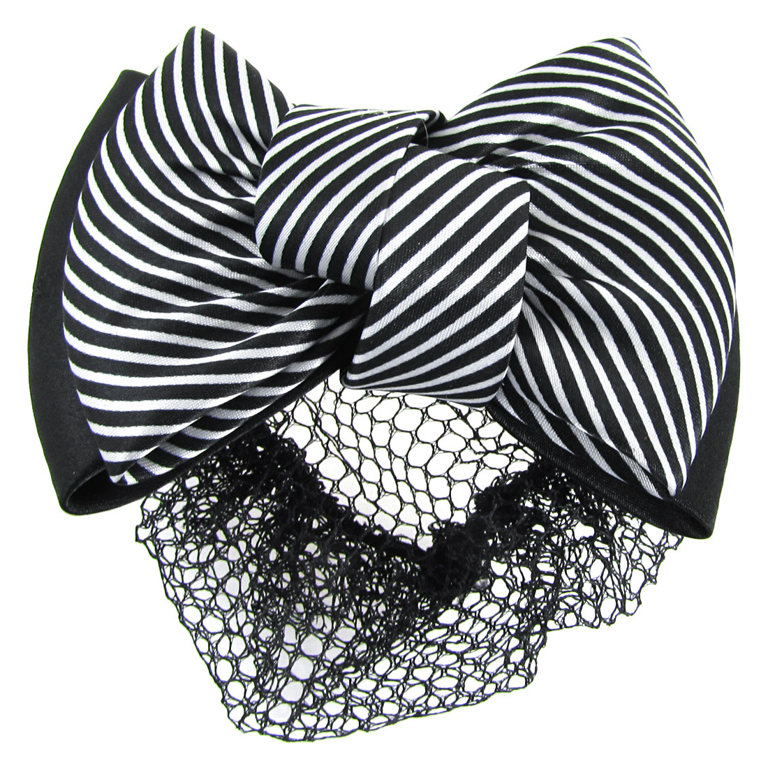Woman Striped Bowtie Accent Hairclip Snood Net Barrette Black White