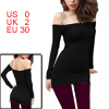 Women Black Off Shoulder Long Sleeve Stretchy Tunic Shirt XS