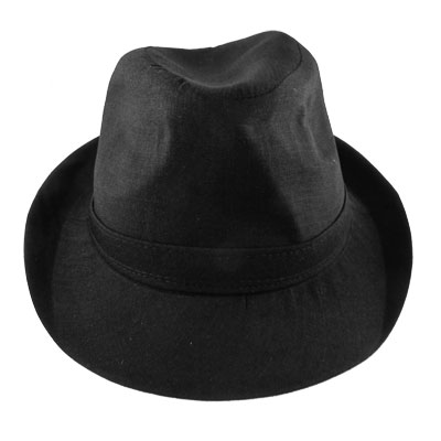 "Autumn 2"" Brim 4"" Depth Black Fedora Trilby Hat Cap XS for Man"