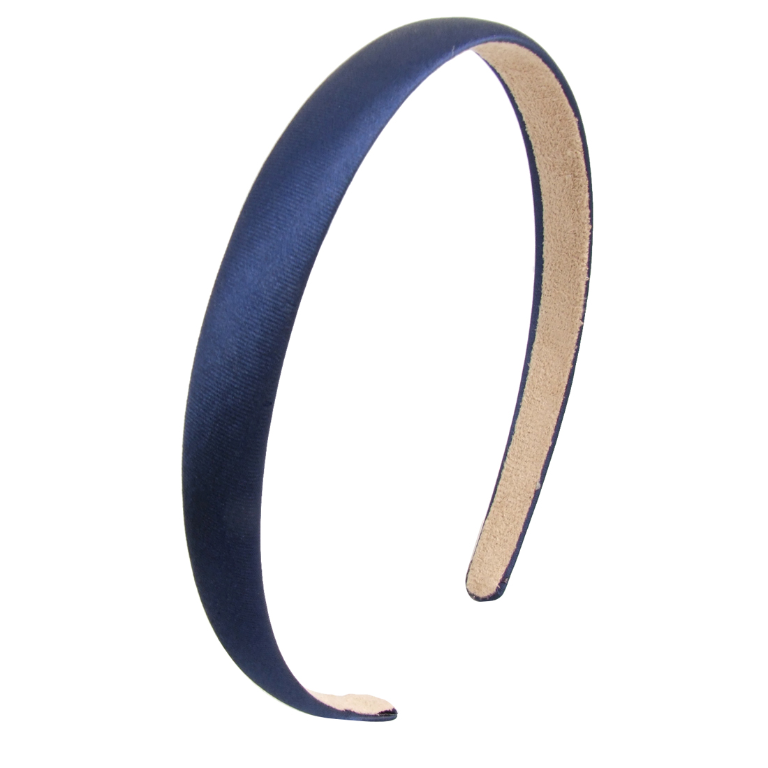 Woman Dark Blue Polyester Cloth Wrap Plastic Frame Hair Band Hoop Headband