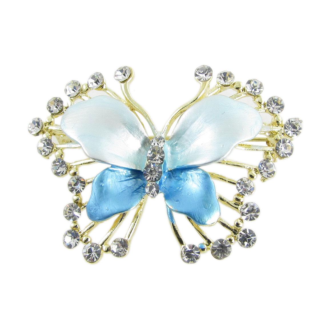 Party Adorn Blue Butterfly Shaped Glitter Rhinestone Breastpin Brooch Pin