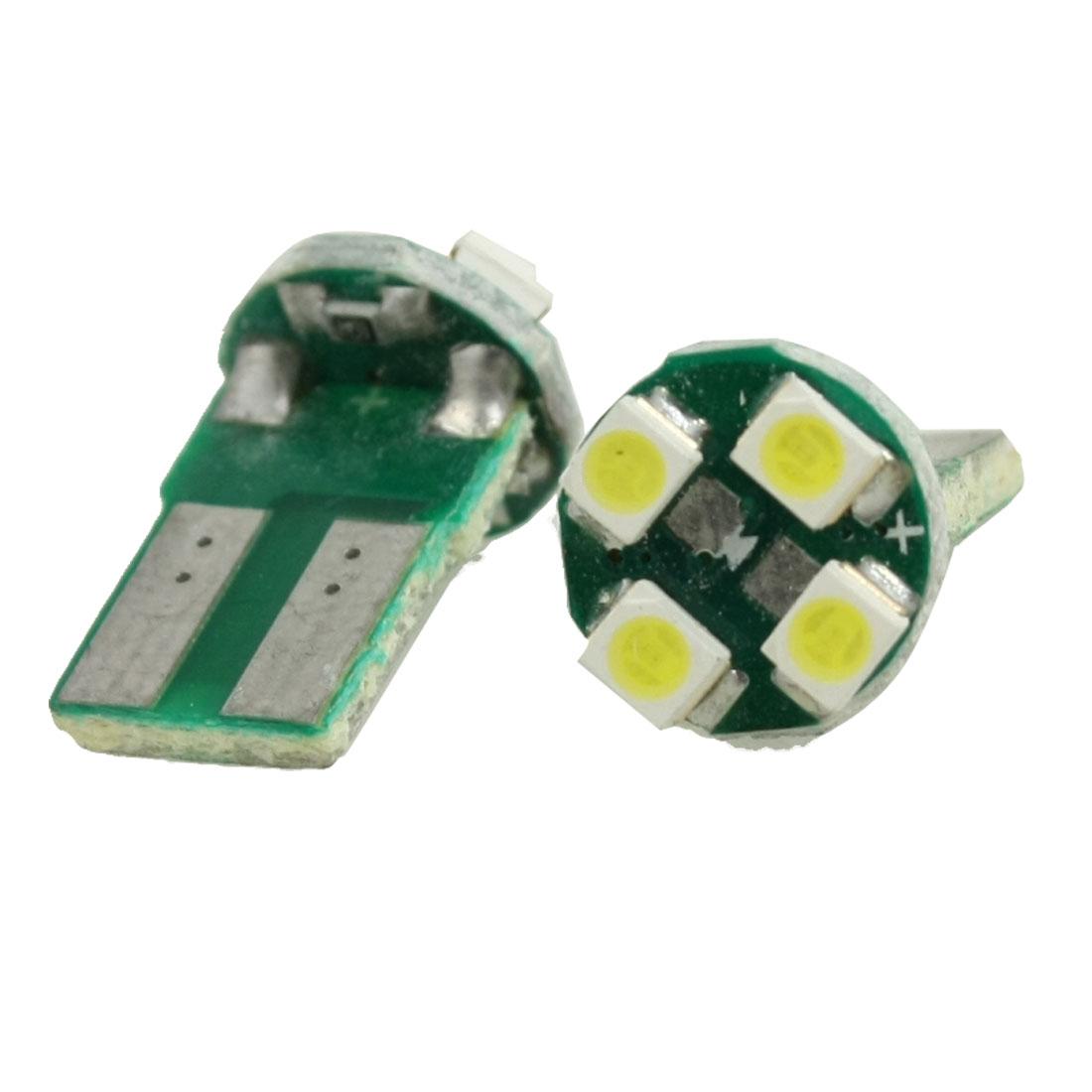 2 Pcs DC 12V 4 LED White Light T10 1210 SMD Bulb Lamp for Car Vehicle