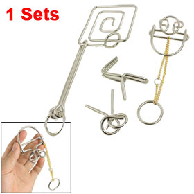 Funny Games Brain Tester Metal Wire Puzzle Rings Toy 1 Set