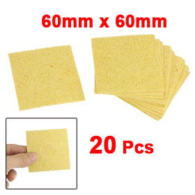 20 Pcs Replacement Soldering Iron Cleaning Sponge 60 x 60 x 0.6mm