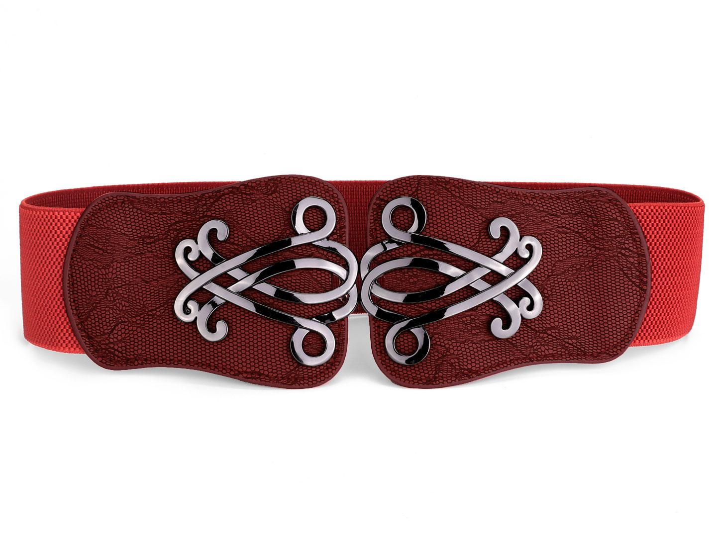 Snake Print Faux Leather Interlocking Buckle Elastic Cinch Belt Red for Women