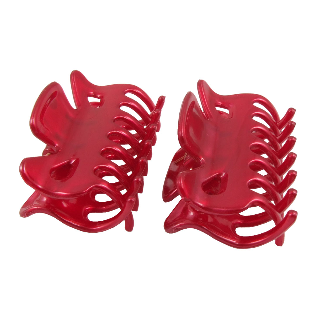 Woman Girls Burgundy Plastic Hairpin Hair Claw Clips 2 Pcs