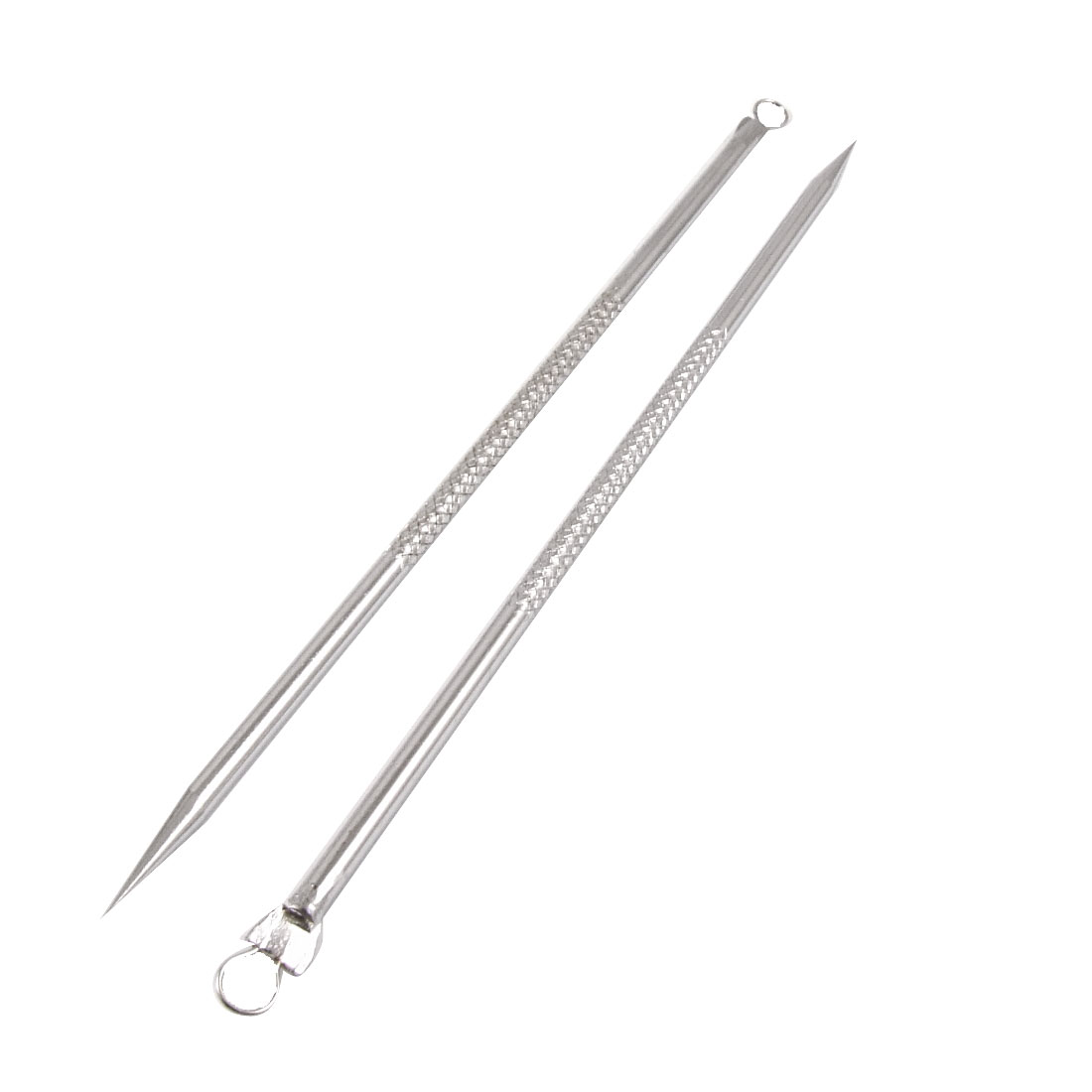"2 Pcs Metal Blackhead Extractor Acne Remover Needles 4.5"" w Holder Case"
