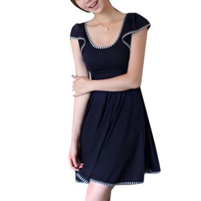 Women Striped Hem Scoop Neck Cap Sleeve Min Dress Dark Blue XS