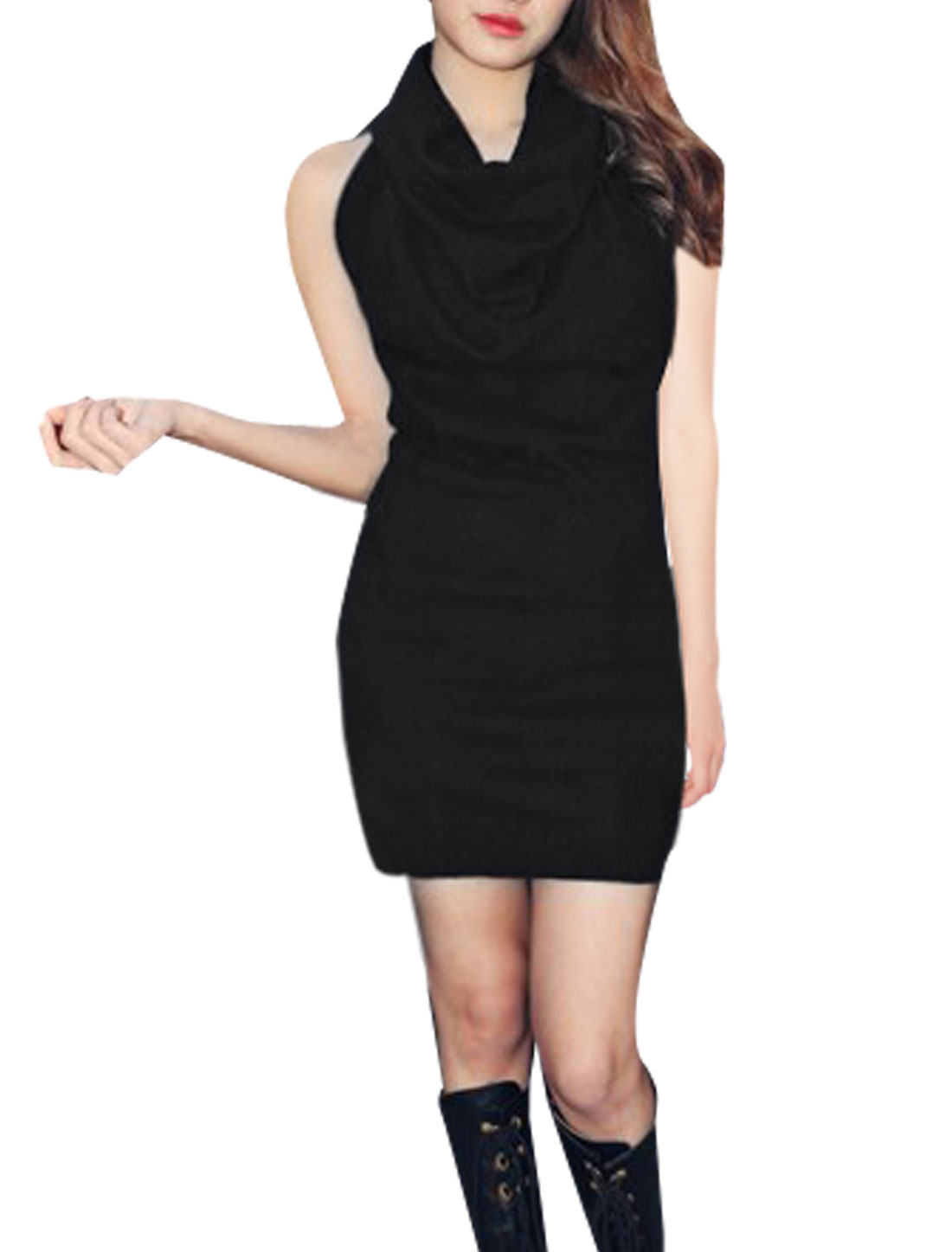 Ladies Cowl Neck Bare Back Stretchy Knitting Black Mini Dress XS