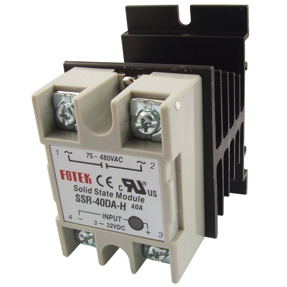LED Indicator Solid State Relay SSR-40DA-H 40A 3-32V DC 75-480V AC + Heat Sink