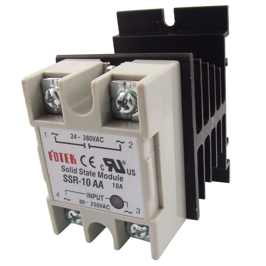 Single Phase Solid State Relay SSR-10AA 10A AC-AC 8-250V 24-380V w heat sink
