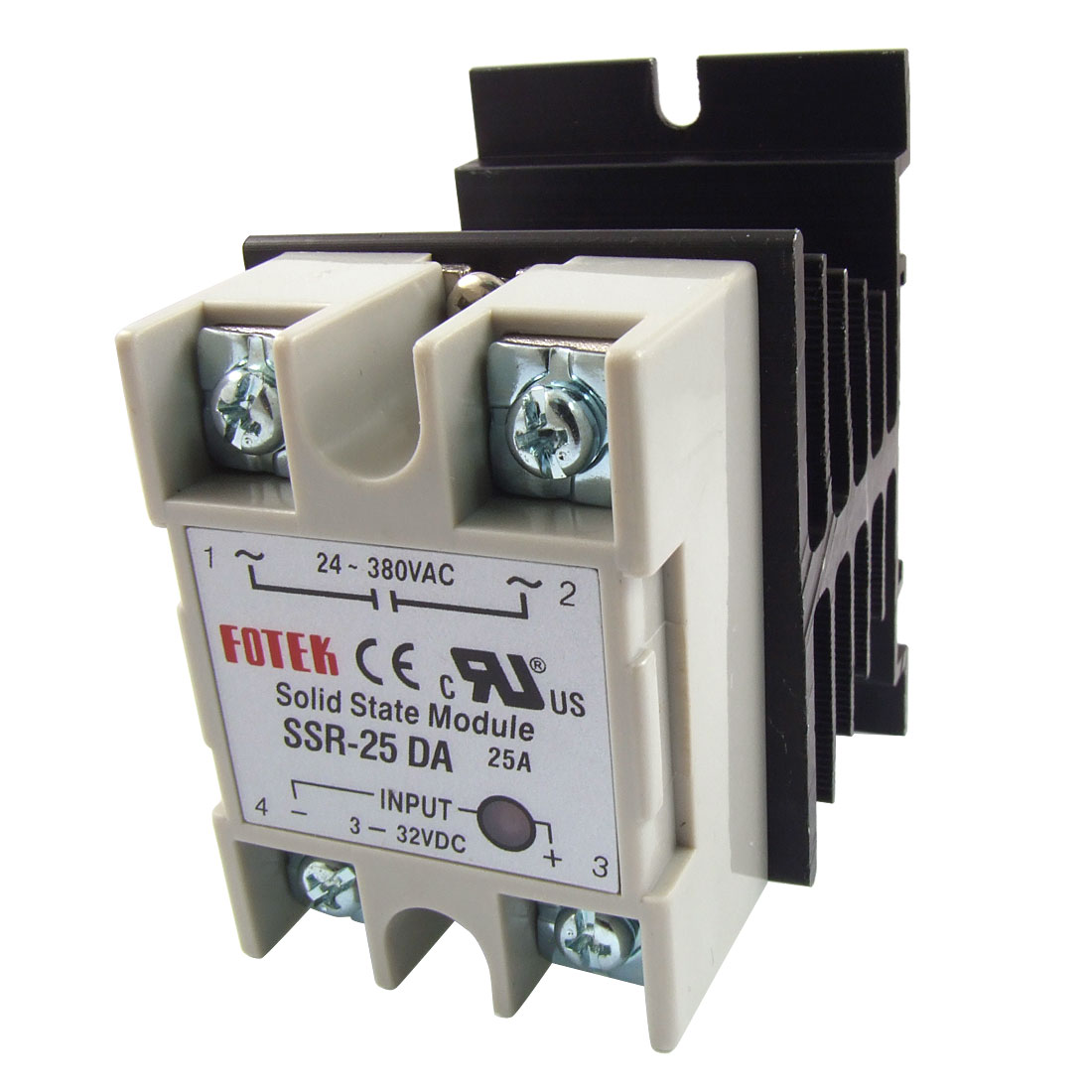 Single Phase Solid State Relay SSR-25DA 25A 3-32V DC 24-380V AC w Heat Sink