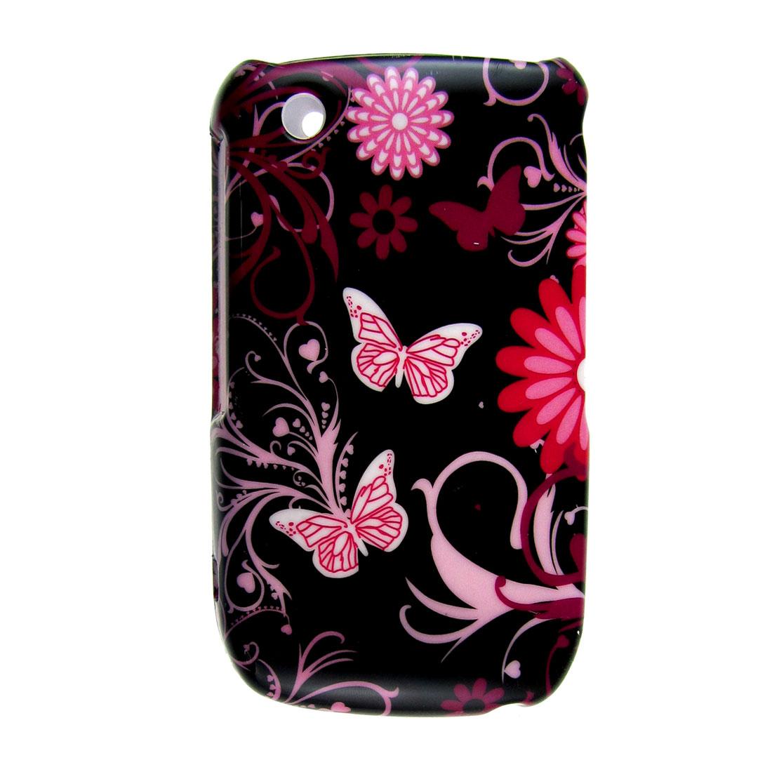 Black Pink Flower Butterfly Print Hard Plastic Case for BlackBerry 8520