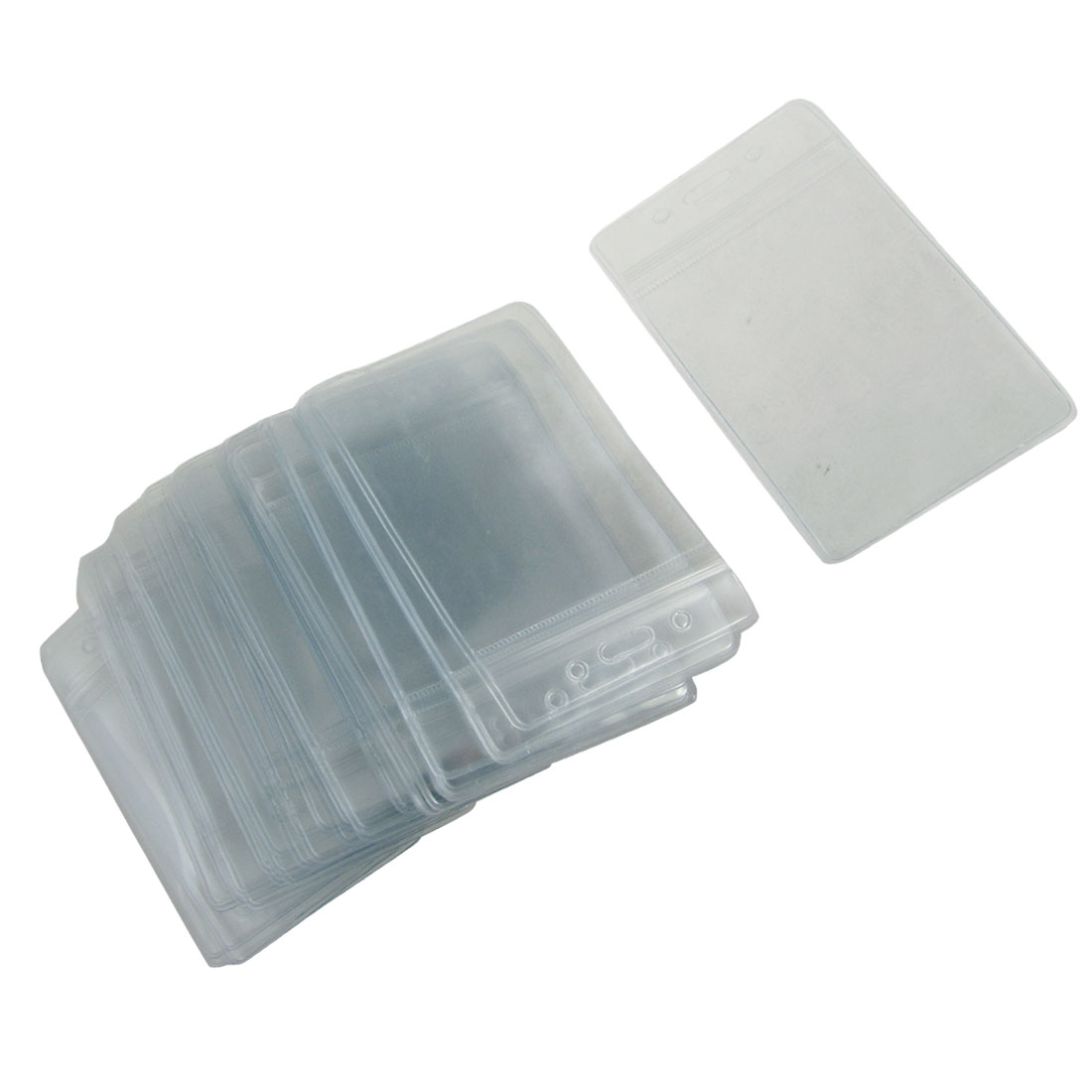 50 Pcs Transparent PVC Vertical ID Card Badge Holders