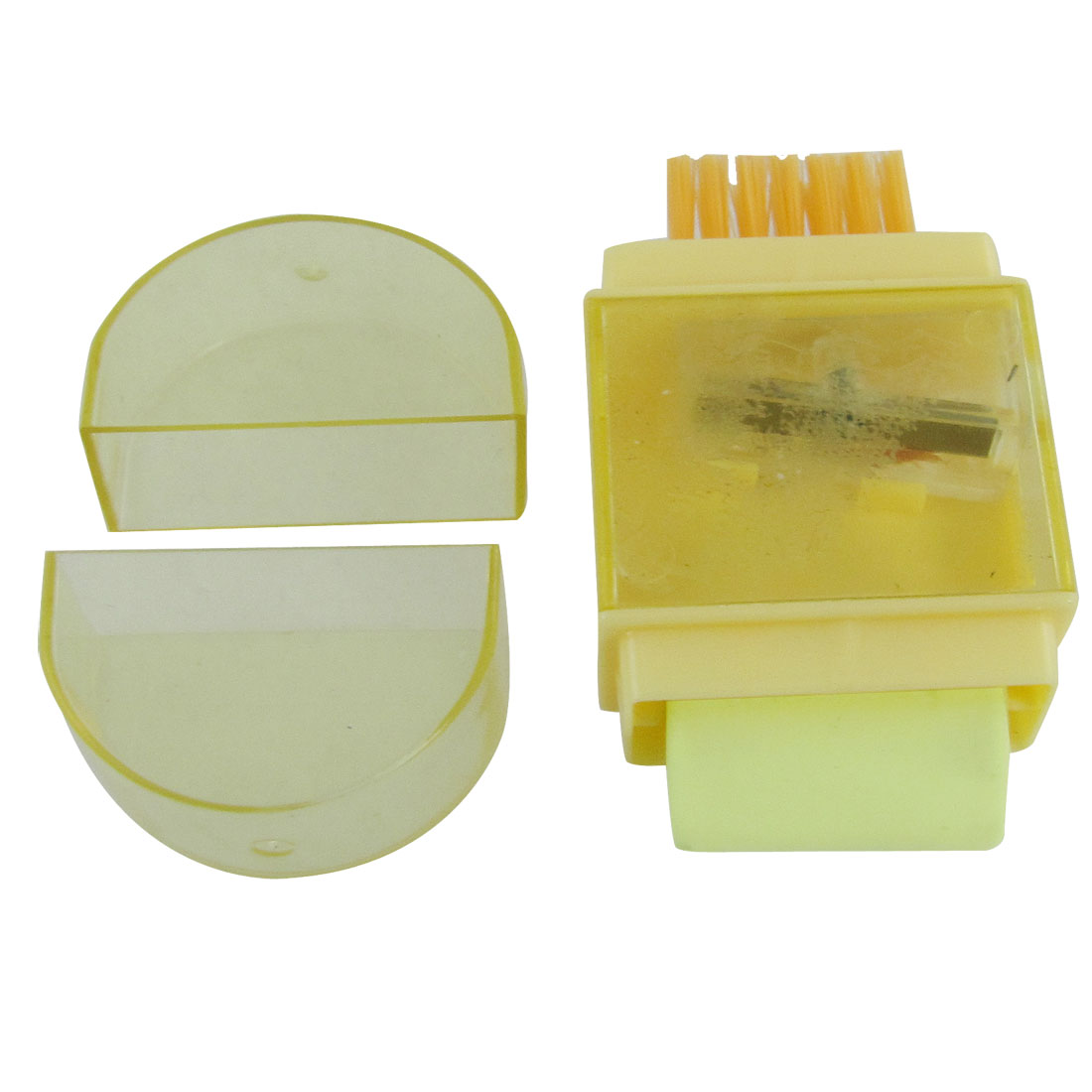 Yellow Plastic Eraser Cleaning Brush Pencil Sharpener Tool
