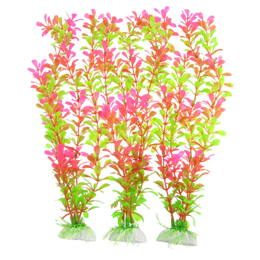 Pink Green Plastic Aquarium Fish Tank Aquascaping Water Plants 3 Pcs