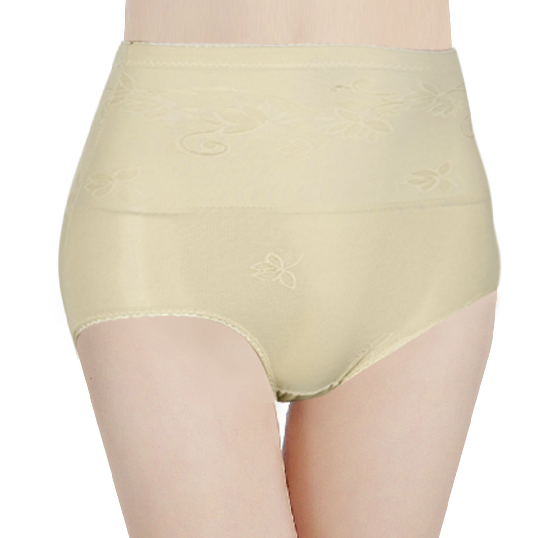 Beige Floral High Waist Elastic Mesh Hole Shorts Panties Shaper M for Woman