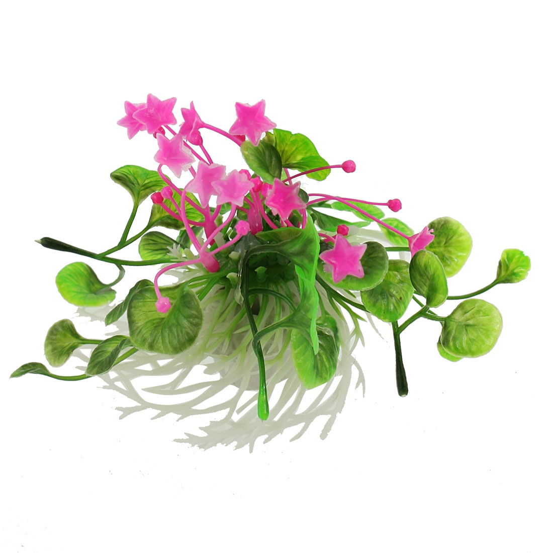 "Aquarium Fish Tank Aquascaping Green Fuchsia White Plastic Grass Plant 3.5"" Height"