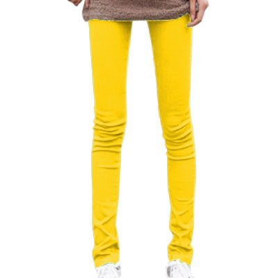 Ladies Yellow Stretchy Back 2-pocket Slim Fit Pencil Pants XS