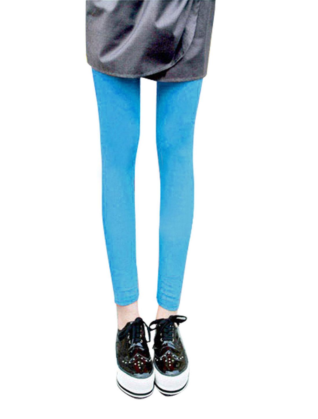 Ladies Cyan Blue Elastic Waist Sheerness Crop Pants Leggings S