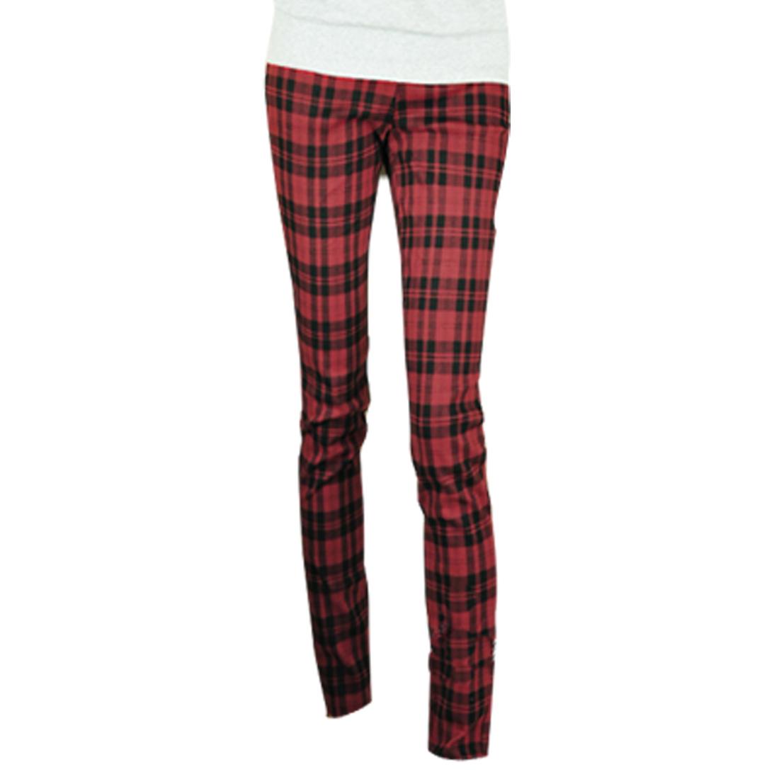 Woman Red Black Checked Elastic Waist Skinny Pencil Pants XS