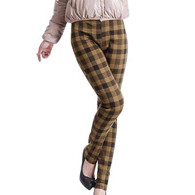 Ladies Elastic Waist Khaki Black Plaided Pencil Pants Trousers XS