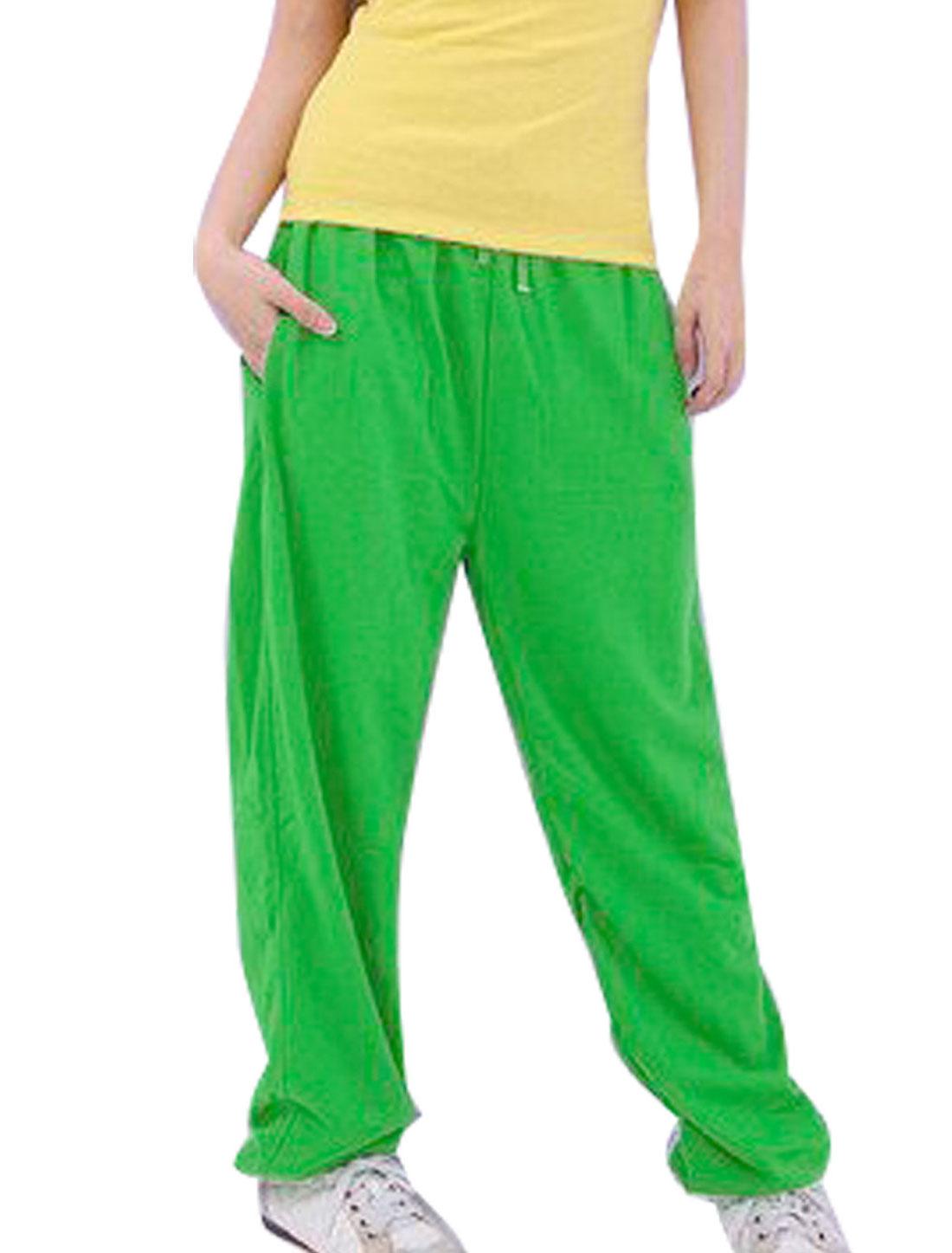 Woman Green Seam Pockets Drawstring Elastic Waist Sport Pants S