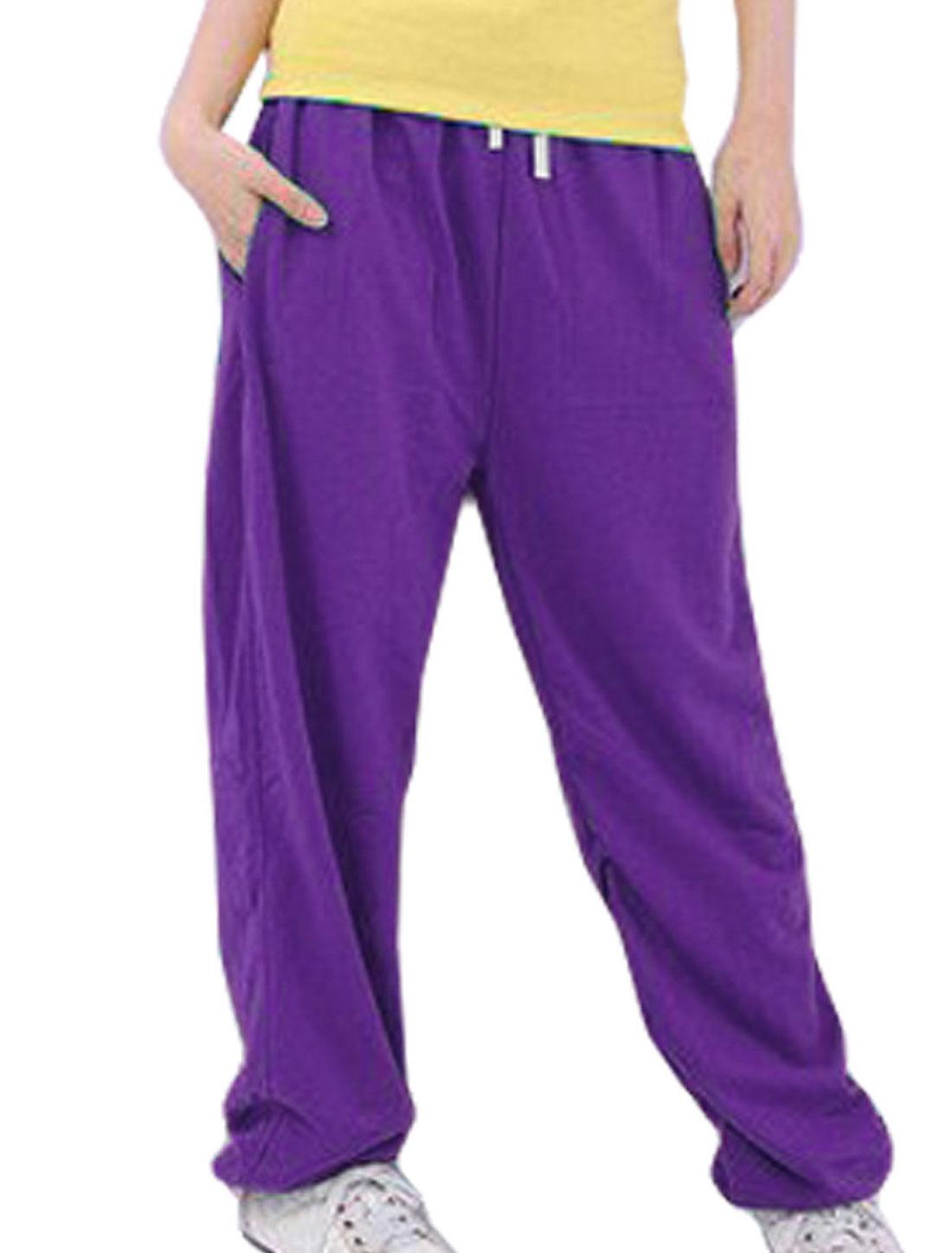 Ladies Purple Drawstring Elastic Waist Seam Pockets Sport Pants S