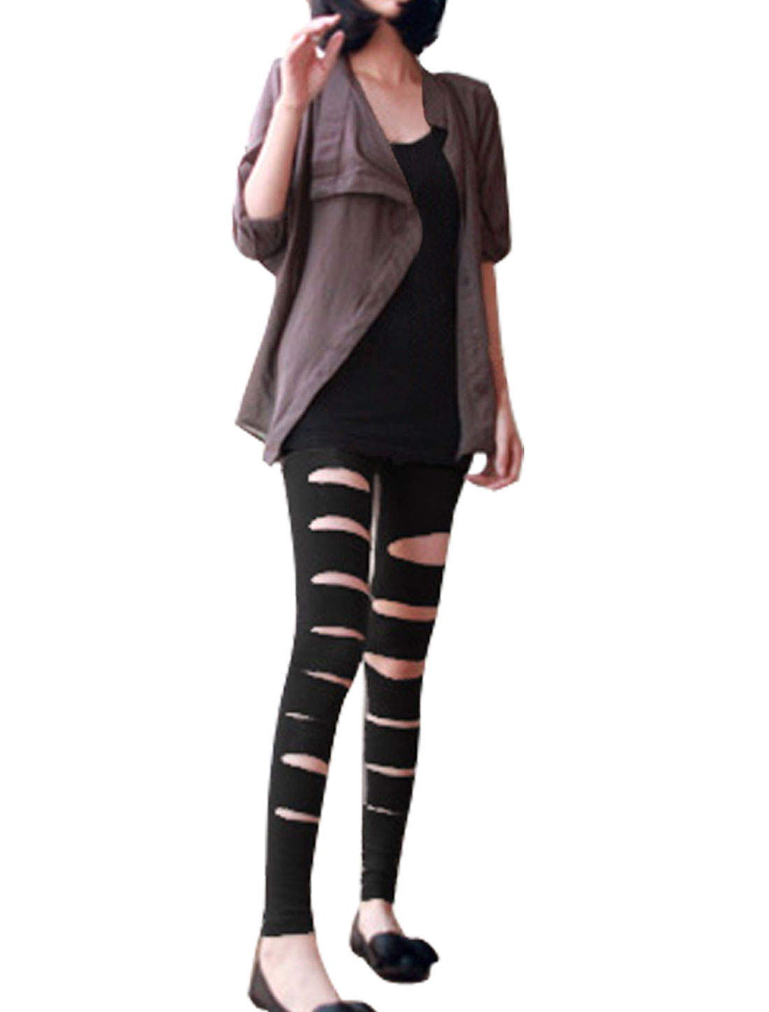 Woman Front Hollow Out Elastic Waist Black Tights Leggings XS