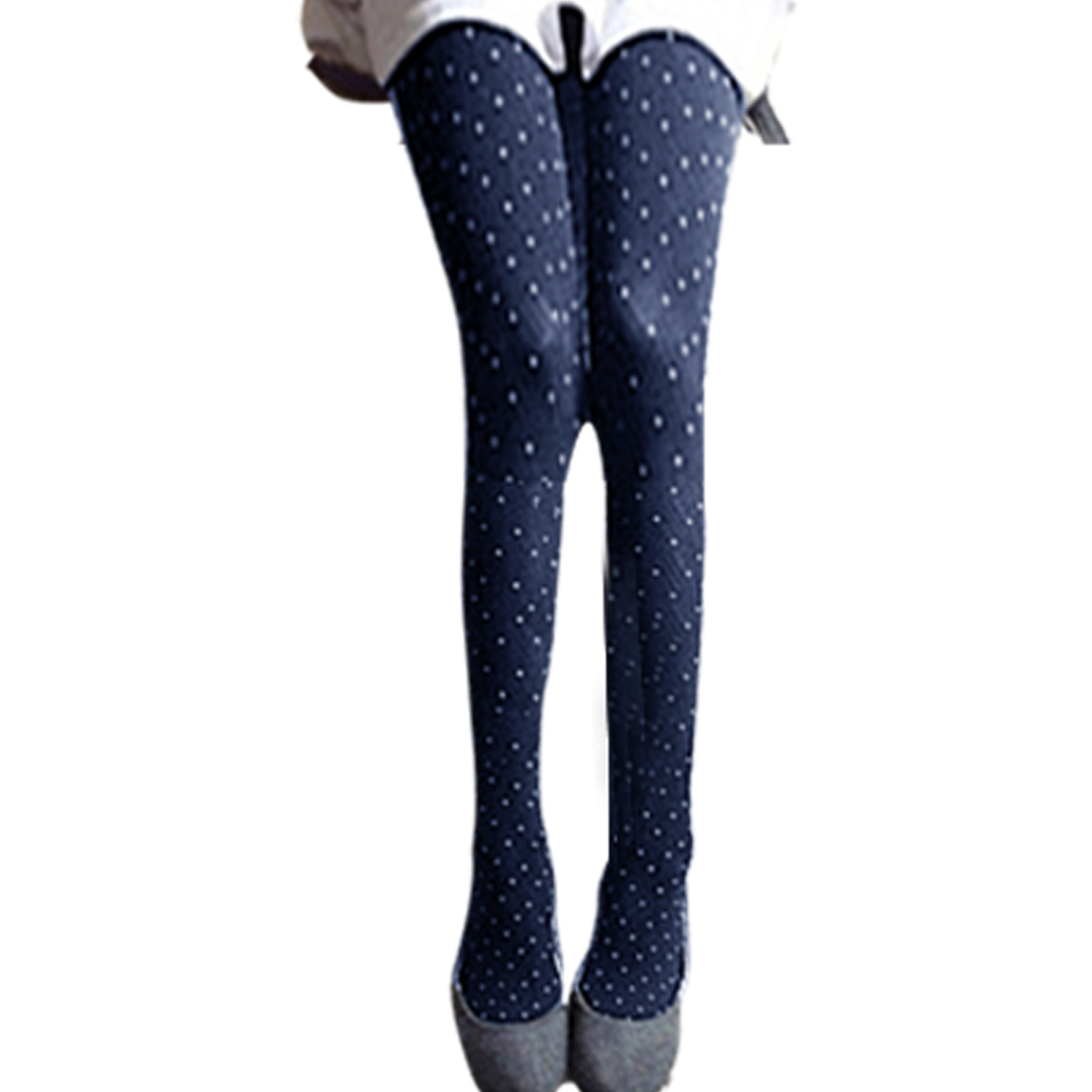 Woman Dark Blue Dotted Embroider Stockings Tights Footed Pantyhose XS