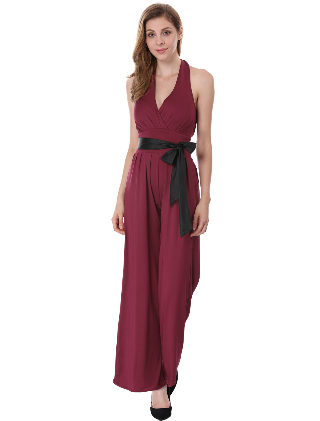 Woman Burgundy Deep V Neck Backless Halter Romper Jumpsuit S