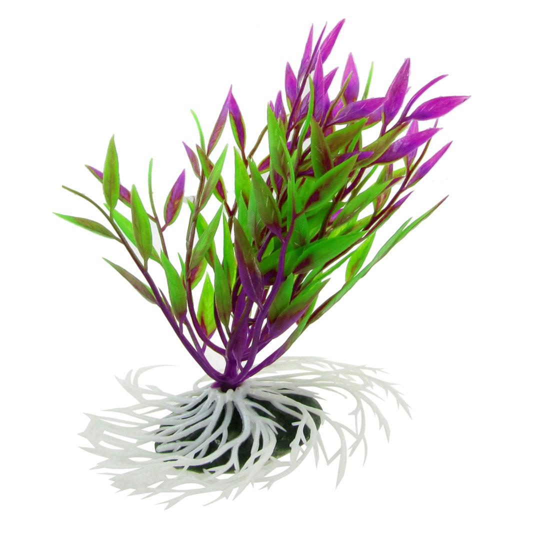 "Ceramic Base Green Purple Leaves Plastic Plant Decoration 5.5"" for Fish Tank"