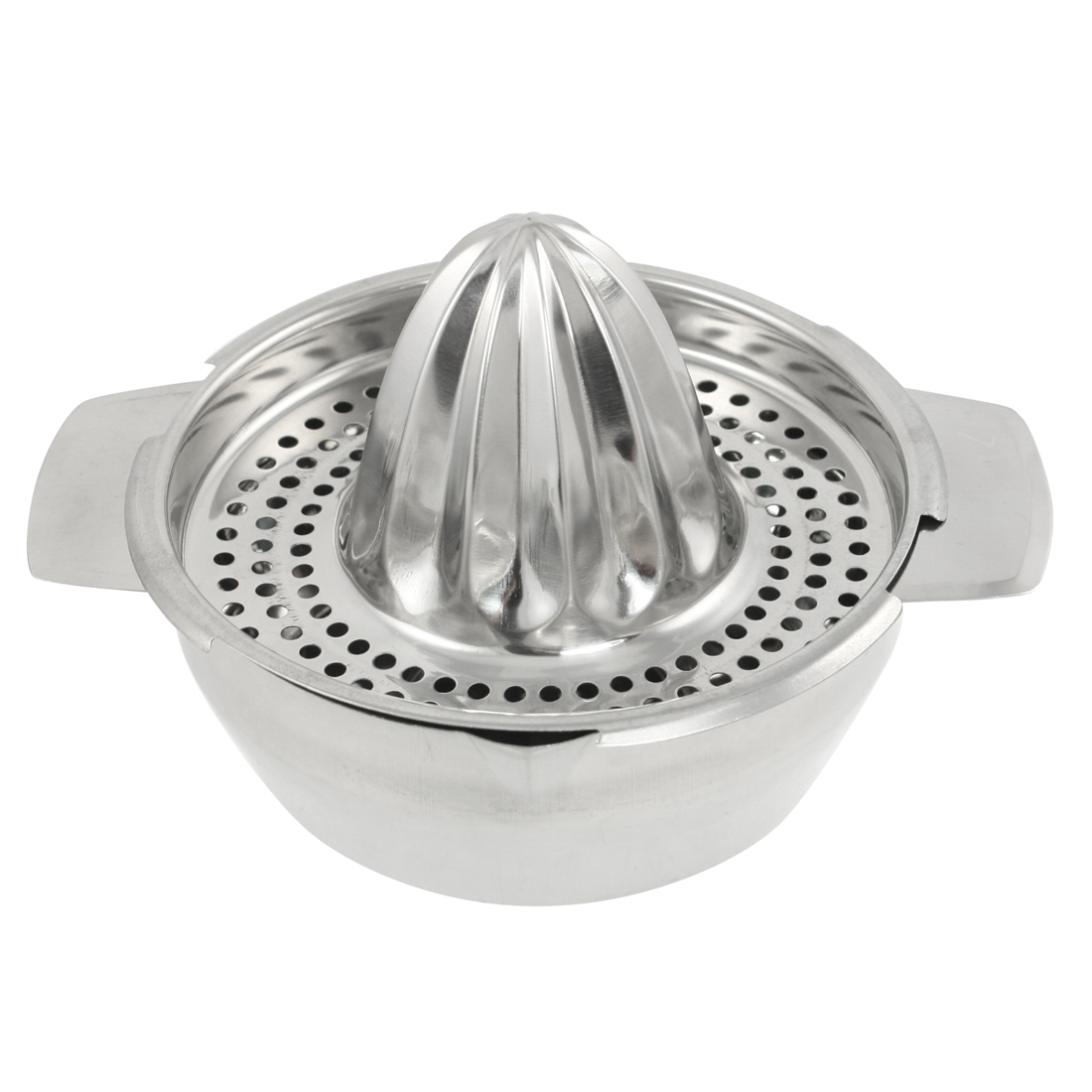 Silver Tone Stainless Steel Mesh Hole Design Citrus Juicer Squeezer
