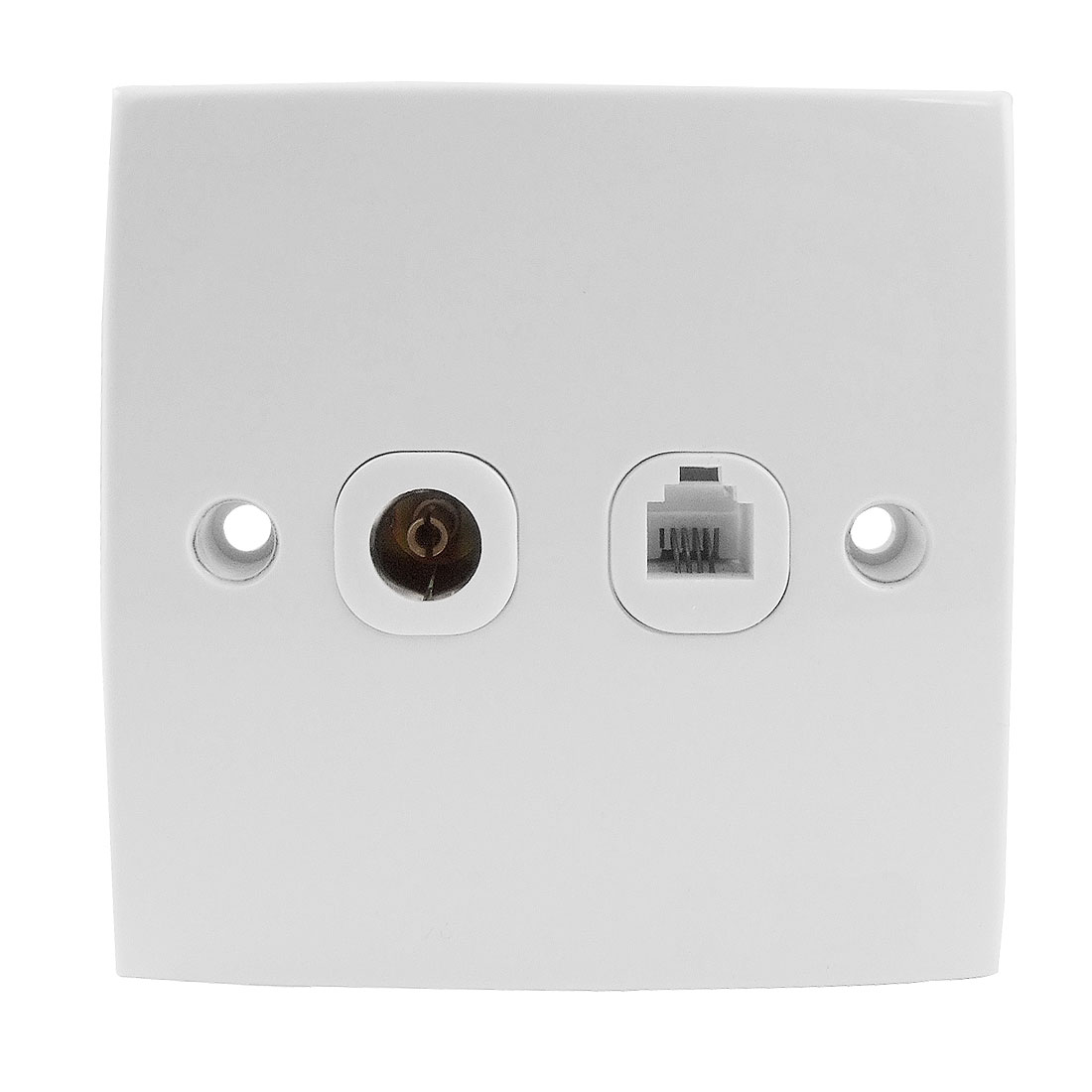 White Square Plastic Rj11 Telephone TV Socket Wall Plate