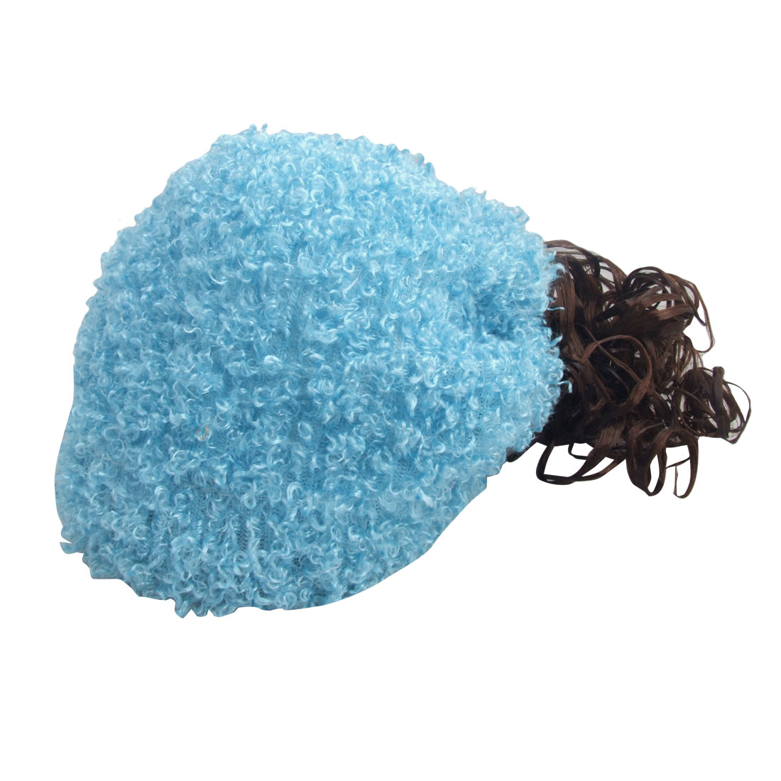 Girl Party Costume Soft Blue Cap Brown Curly Wig Hat Hairpiece