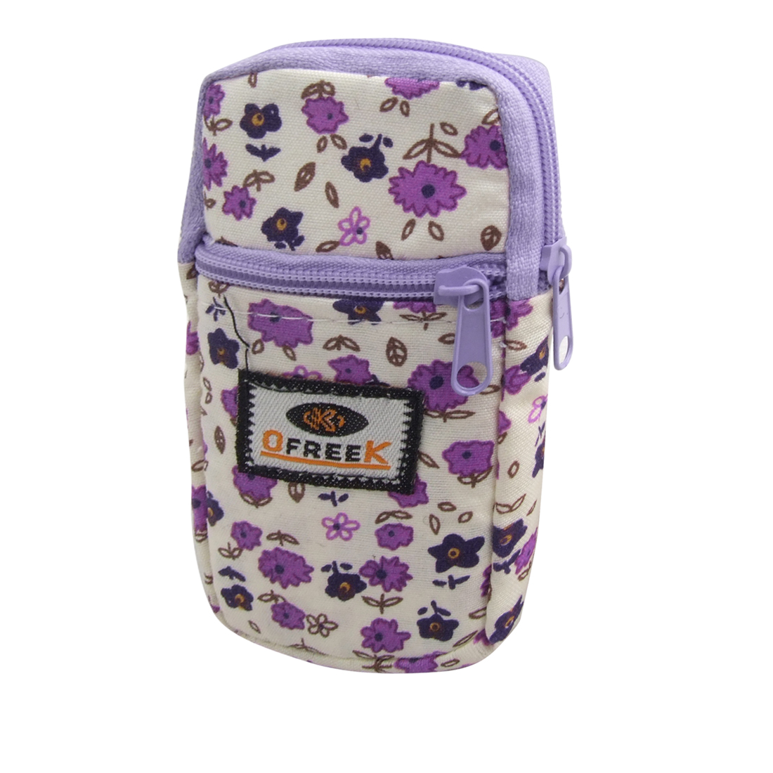White Purple Floral Cellphone Mp3 Mp4 Holder Pouch Wrist Bag