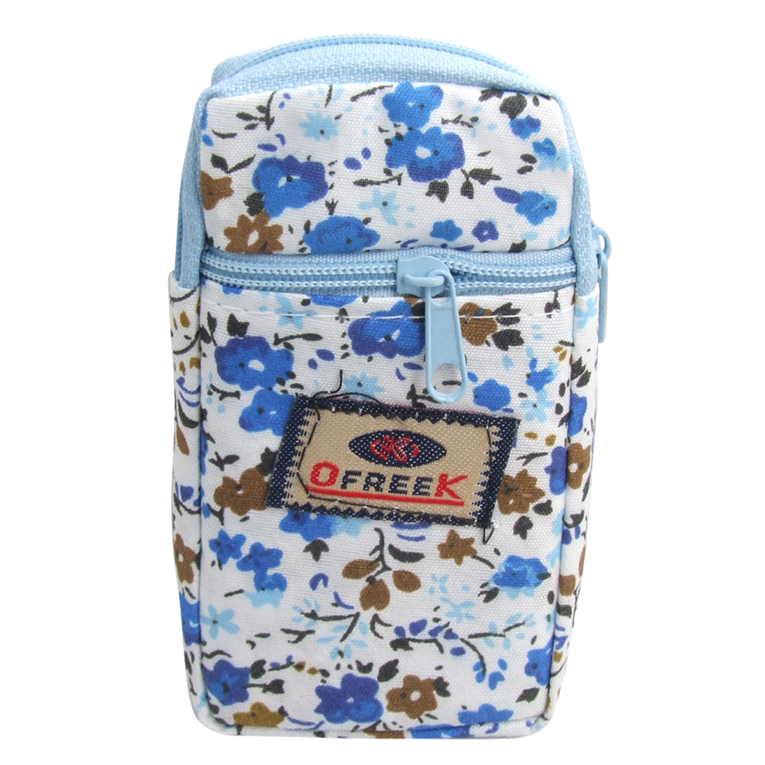 Blue Allover Floral Pattern Zip Closure Cellphone Holder Pouch Wrist Bag