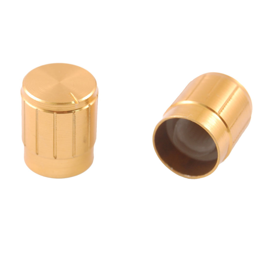 15mm x 17mm Gold Tone Aluminum Potentiometer Knobs 5 Pcs